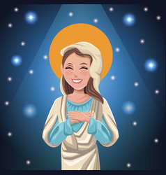 Virgin mary catholic bright background vector