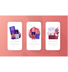 Visa approval and traveling mobile app page vector