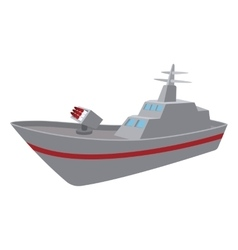 Warship cartoon icon vector
