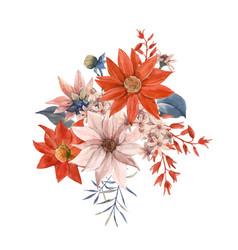 watercolor floral bouquet composition vector image