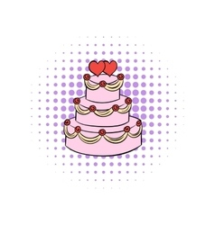Wedding cake comics icon vector