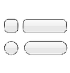 white buttons glass 3d icons with chrome frame vector image