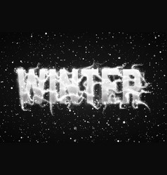 winter dark background with snow in soft focus and vector image