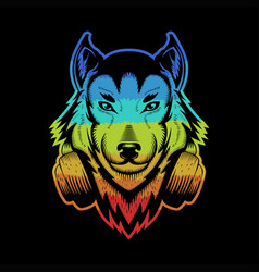 wolf headphone colorful vector image