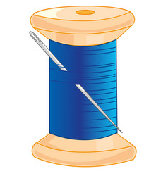 Wooden spool with thread and needle vector