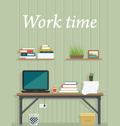work time office interior for work place design vector image