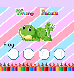 Worksheet writing practice alphabet f for frog vector