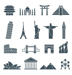 World landmarks icons abstract set vector