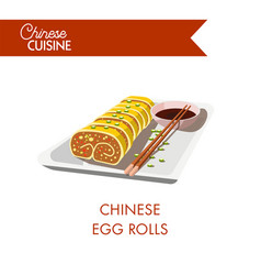 chinese egg rolls on plate with chopsticks and soy vector image vector image