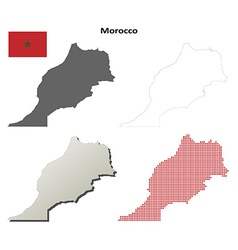 Morocco outline map set vector