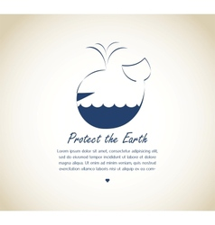 save the earth whale on retro background vector image vector image