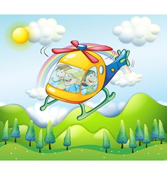 A helicopter with kids vector image