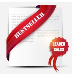 Bestseller red banner and label set vector