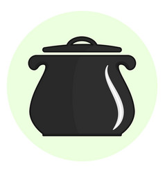 black outline cooking pot icon vector image