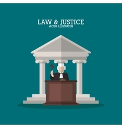 Building and judge of law and justice design vector image vector image