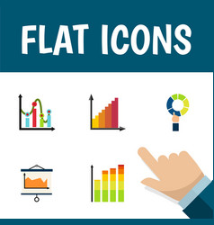 flat icon graph set of pie bar chart statistic vector image