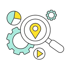 Flat line icon of digital marketing search for vector image vector image