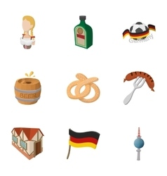 Germany icons set cartoon style vector image vector image