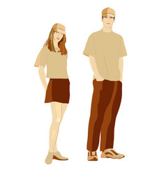 girl and boy in in clothes for promotion vector image vector image