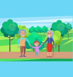 happy grandparents senior couple walking with vector image