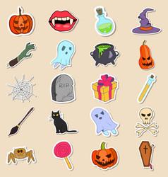 set of halloween stickers vector image