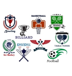 Variety sports icons set vector