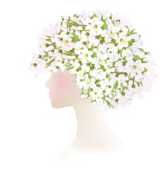 woman flowers vector image vector image