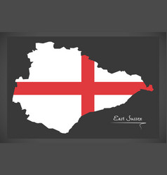 East sussex map england uk with english national vector