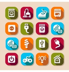 electronic devices long shadows icons vector image vector image