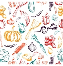 Hand drawn vegetables seamless pattern on a vector image