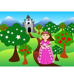 Princess and castle landscape vector image