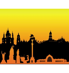 silhouette of Kiev on an orange background vector image vector image