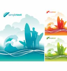 surfers team vector image