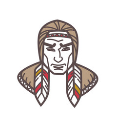 tribe with feathers in hair vector image