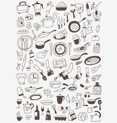 cookery food - doodles set vector image vector image