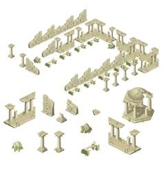 Ruins of the city walls columns and gazebos vector image vector image