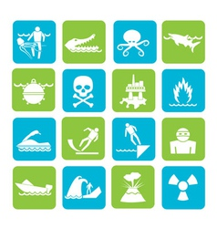 Silhouette Warning Signs for dangers vector image