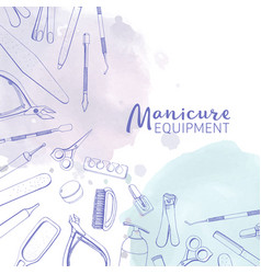 square banner with different manicure tools drawn vector image vector image
