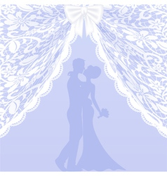 Wedding card with lace curtains and bow vector image