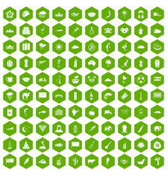 100 exotic animals icons hexagon green vector