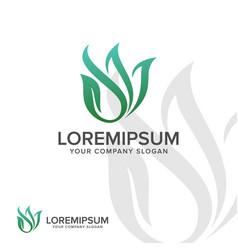 abstract leaf logo landscaping leaf nature logo vector image