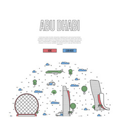abu dhabi travel tour poster in linear style vector image