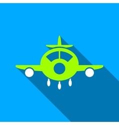 Aircraft Flat Long Shadow Square Icon vector image