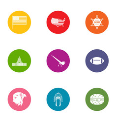 american way of life icons set flat style vector image