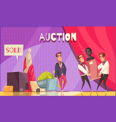 Auction show horizontal background vector
