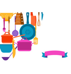 Background with kitchen utensils vector