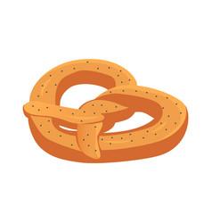 Baked soft german pretzel icon isometric style vector