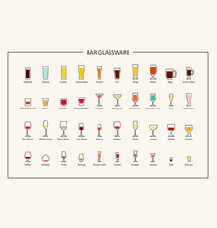 Bar glassware guide colored icons horizontal vector