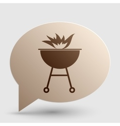 Barbecue with fire sign Brown gradient icon on vector