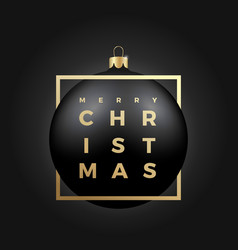 Black christmas ball on dark background with vector